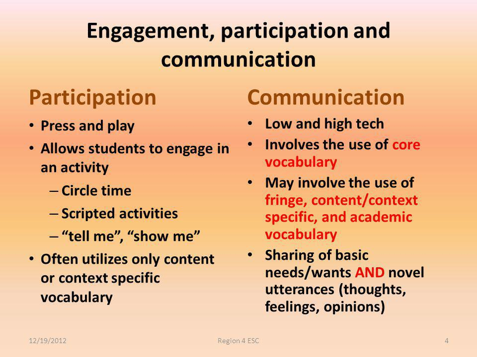 Engagement, participation and communication Participation Press and play Allows students to engage in an activity – Circle time – Scripted activities