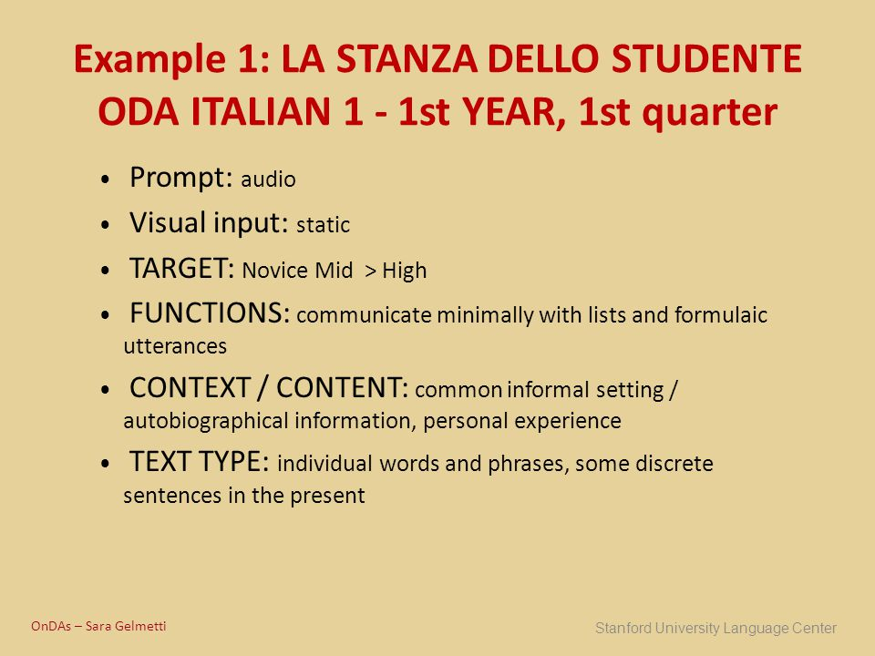 Example 1: LA STANZA DELLO STUDENTE ODA ITALIAN 1 - 1st YEAR, 1st quarter Prompt: audio Visual input: static TARGET: Novice Mid > High FUNCTIONS: comm