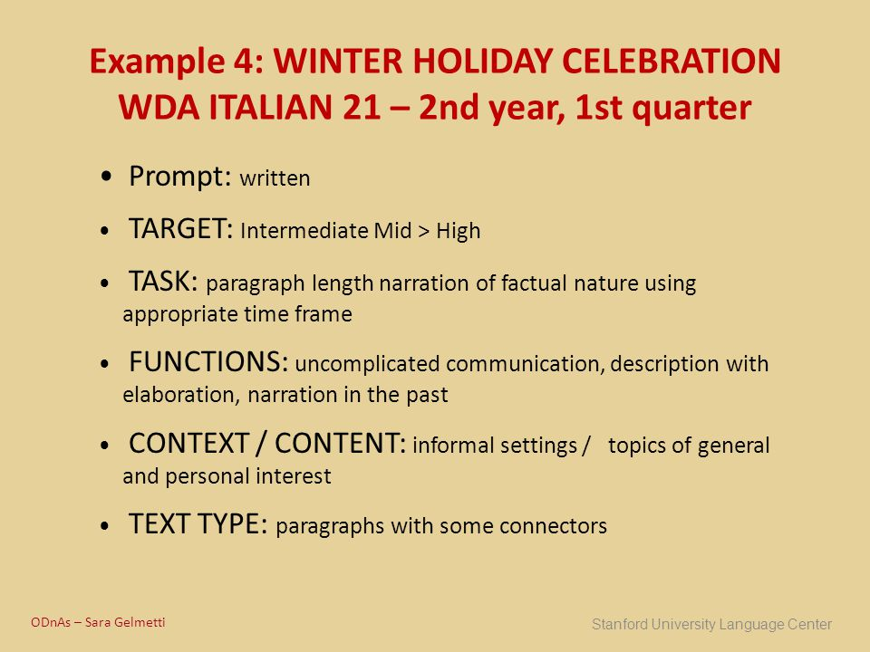 Example 4: WINTER HOLIDAY CELEBRATION WDA ITALIAN 21 – 2nd year, 1st quarter Prompt: written TARGET: Intermediate Mid > High TASK: paragraph length na