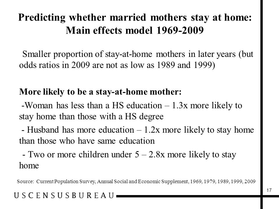 Predicting whether married mothers stay at home: Main effects model 1969-2009 Source: Current Population Survey, Annual Social and Economic Supplement, 1969, 1979, 1989, 1999, 2009 -Smaller proportion of stay-at-home mothers in later years (but odds ratios in 2009 are not as low as 1989 and 1999) More likely to be a stay-at-home mother: -Woman has less than a HS education – 1.3x more likely to stay home than those with a HS degree - Husband has more education – 1.2x more likely to stay home than those who have same education -- Two or more children under 5 – 2.8x more likely to stay home 17