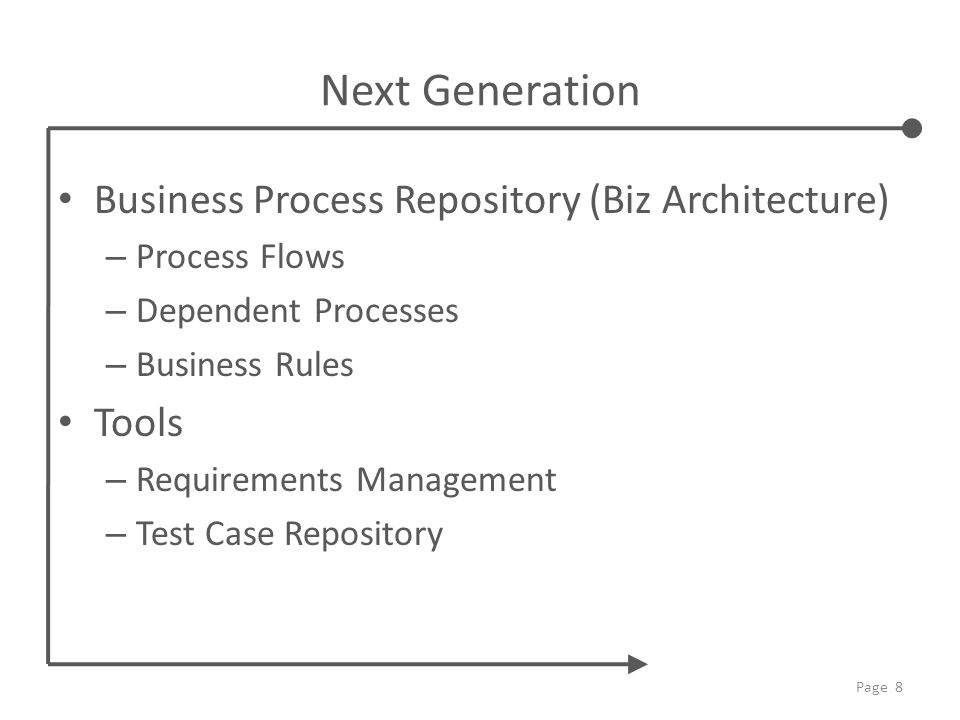 Next Generation Business Process Repository (Biz Architecture) – Process Flows – Dependent Processes – Business Rules Tools – Requirements Management – Test Case Repository Page 8