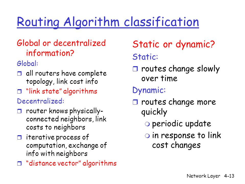 Network Layer4-13 Routing Algorithm classification Global or decentralized information.