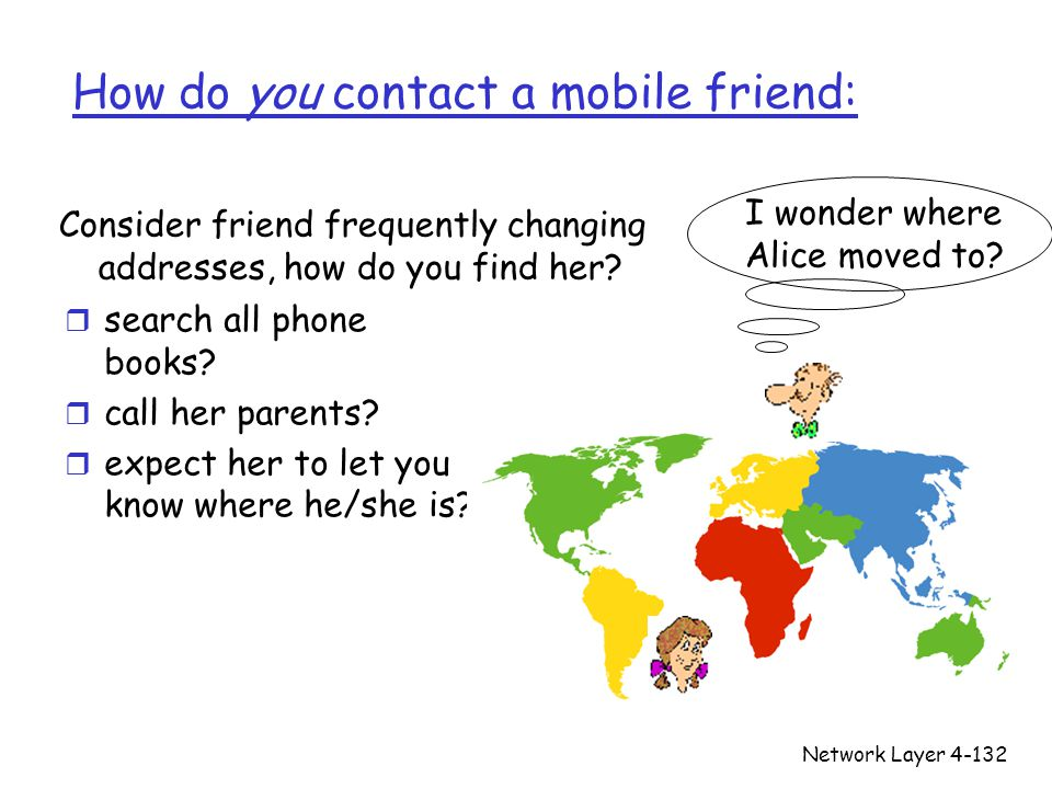 Network Layer4-132 How do you contact a mobile friend: r search all phone books.