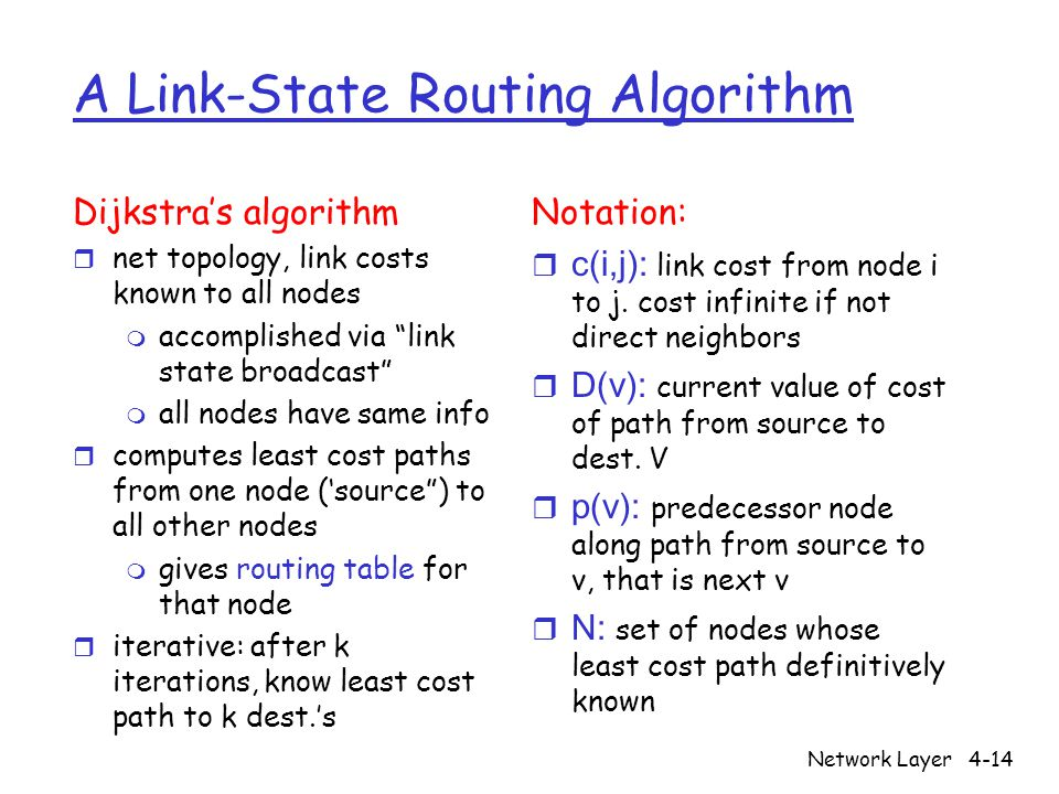 Network Layer4-14 A Link-State Routing Algorithm Dijkstra's algorithm r net topology, link costs known to all nodes m accomplished via link state broadcast m all nodes have same info r computes least cost paths from one node ('source ) to all other nodes m gives routing table for that node r iterative: after k iterations, know least cost path to k dest.'s Notation:  c(i,j): link cost from node i to j.