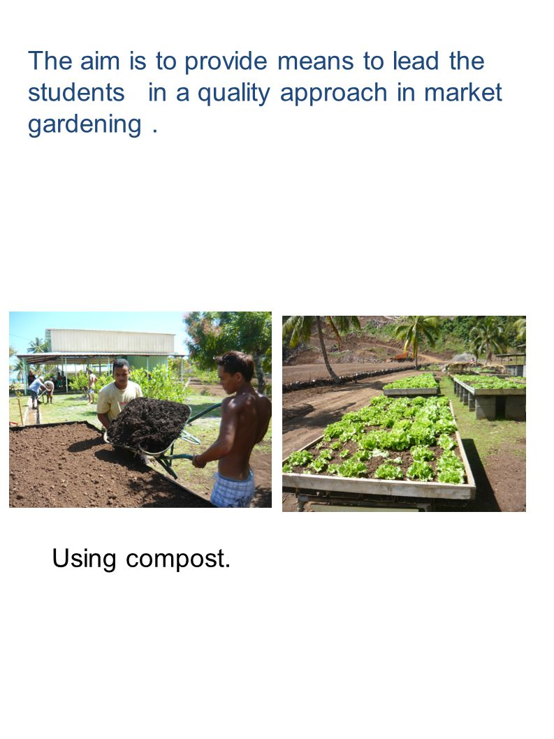 The aim is to provide means to lead the students in a quality approach in market gardening. Using compost.