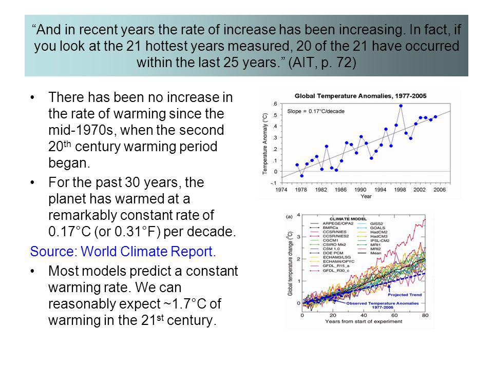"""And in recent years the rate of increase has been increasing. In fact, if you look at the 21 hottest years measured, 20 of the 21 have occurred withi"
