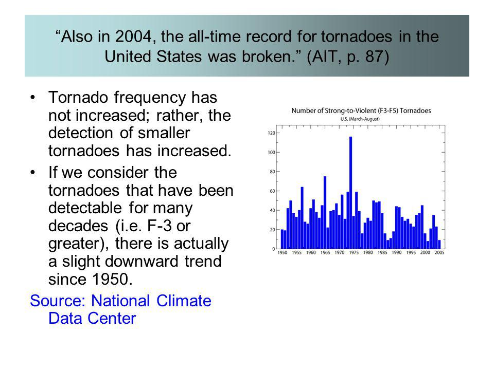 """Also in 2004, the all-time record for tornadoes in the United States was broken."" (AIT, p. 87) Tornado frequency has not increased; rather, the detec"