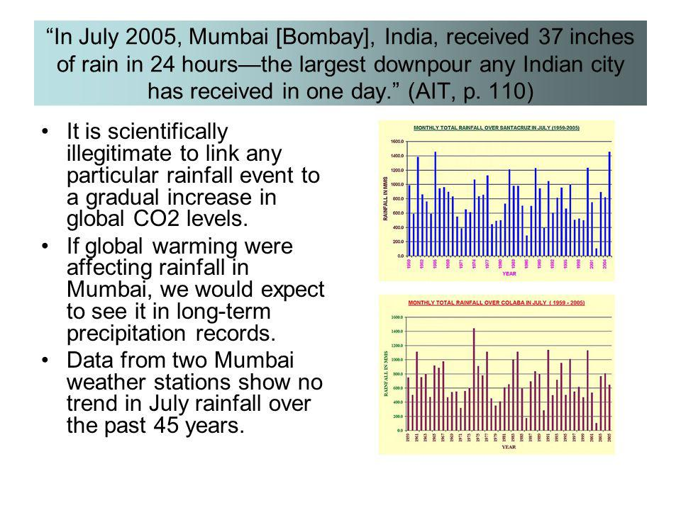 """In July 2005, Mumbai [Bombay], India, received 37 inches of rain in 24 hours—the largest downpour any Indian city has received in one day."" (AIT, p."