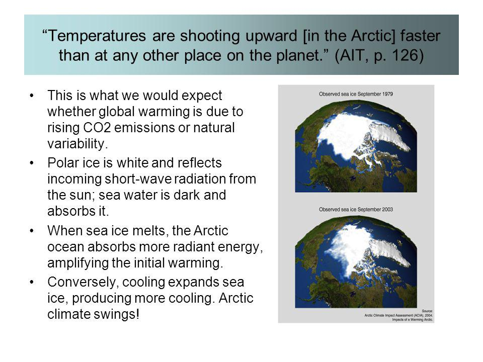 """Temperatures are shooting upward [in the Arctic] faster than at any other place on the planet."" (AIT, p. 126) This is what we would expect whether gl"