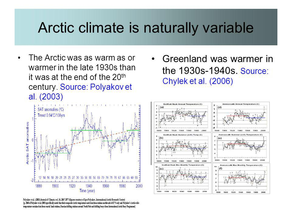 Arctic climate is naturally variable The Arctic was as warm as or warmer in the late 1930s than it was at the end of the 20 th century. Source: Polyak
