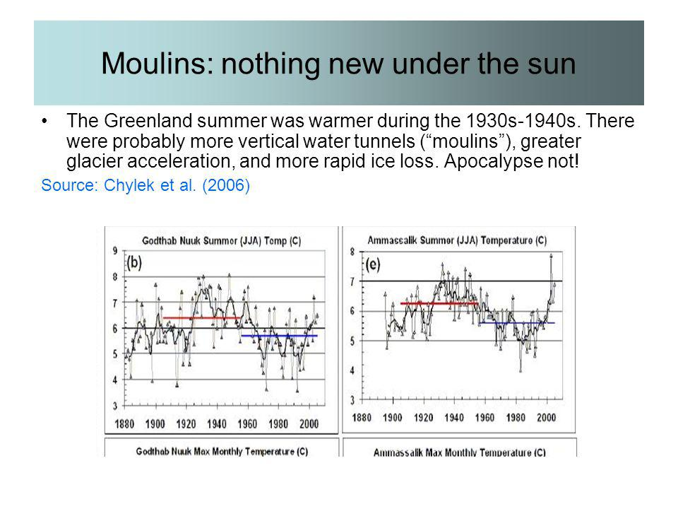 "Moulins: nothing new under the sun The Greenland summer was warmer during the 1930s-1940s. There were probably more vertical water tunnels (""moulins"")"