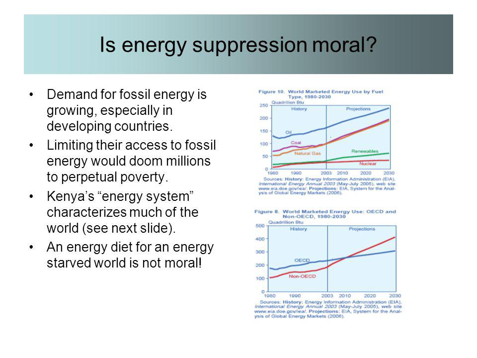 Is energy suppression moral? Demand for fossil energy is growing, especially in developing countries. Limiting their access to fossil energy would doo