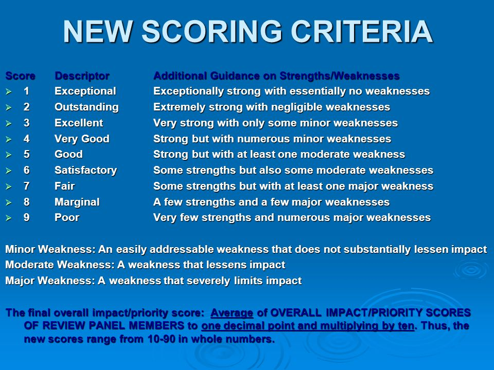 NEW SCORING CRITERIA ScoreDescriptorAdditional Guidance on Strengths/Weaknesses  1ExceptionalExceptionally strong with essentially no weaknesses  2O