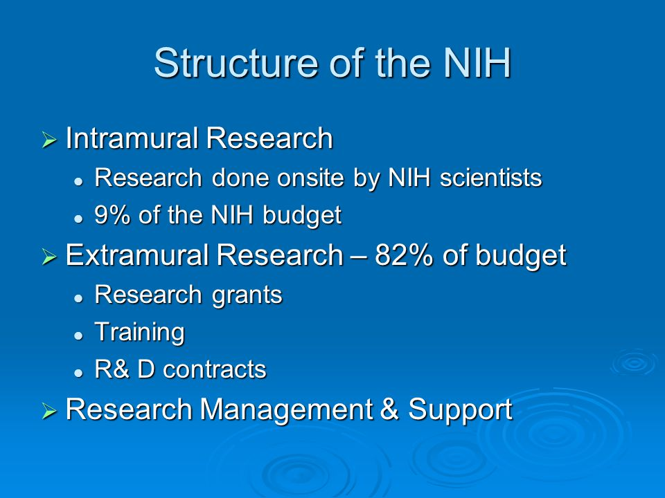 Structure of the NIH  Intramural Research Research done onsite by NIH scientists Research done onsite by NIH scientists 9% of the NIH budget 9% of th