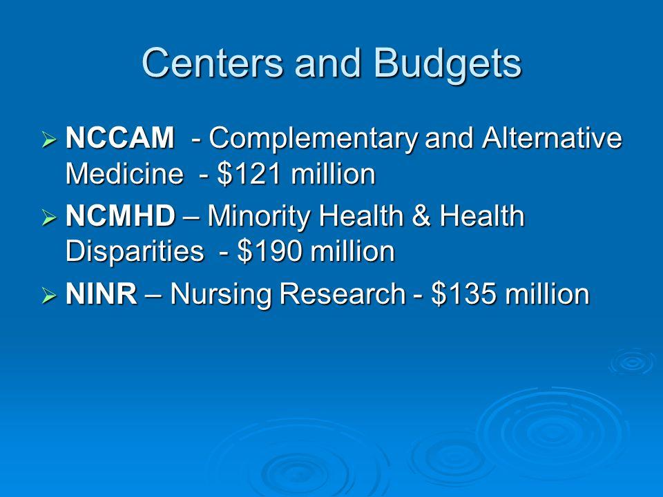 Centers and Budgets  NCCAM - Complementary and Alternative Medicine - $121 million  NCMHD – Minority Health & Health Disparities - $190 million  NI