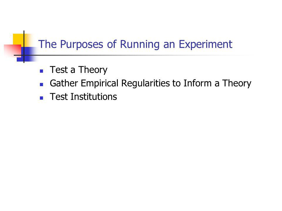 Actually Running the Experiment You will want to have all forms made up in advance.