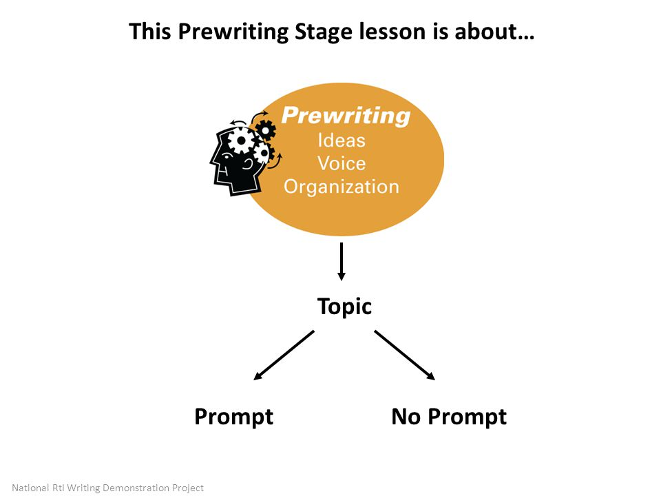 Topic This Prewriting Stage lesson is about… PromptNo Prompt National RtI Writing Demonstration Project