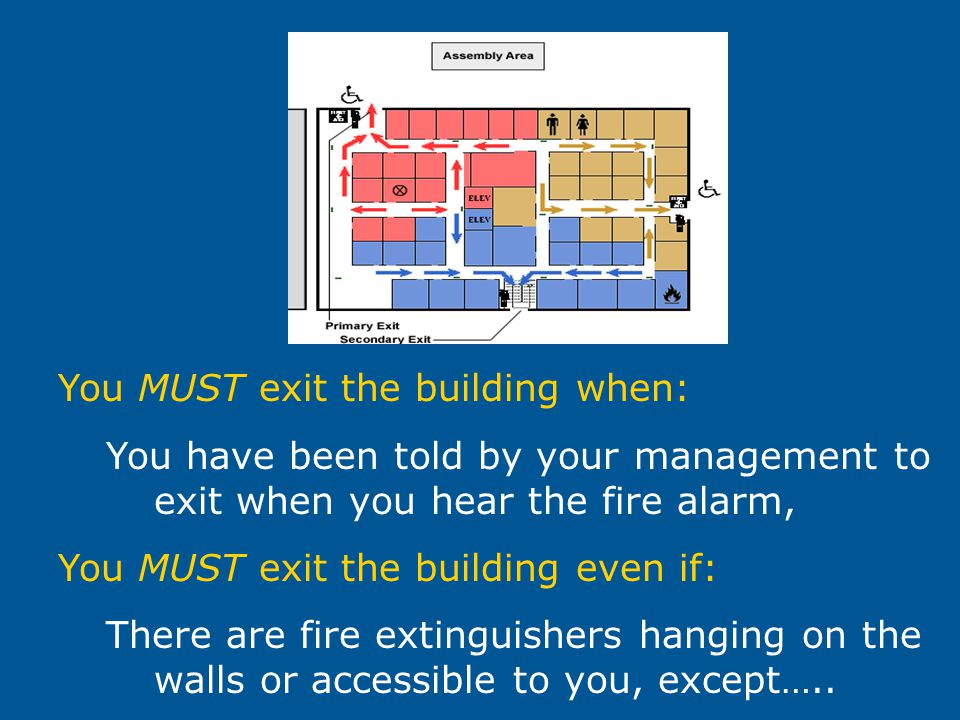 You MUST exit the building when: You have been told by your management to exit when you hear the fire alarm, You MUST exit the building even if: There are fire extinguishers hanging on the walls or accessible to you, except…..