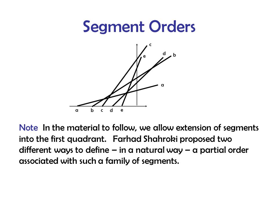 Segment Orders Note In the material to follow, we allow extension of segments into the first quadrant.