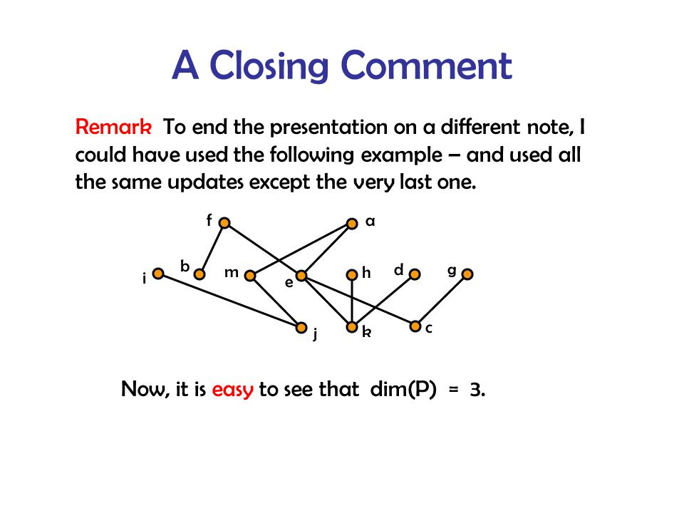 A Closing Comment Remark To end the presentation on a different note, I could have used the following example – and used all the same updates except the very last one.