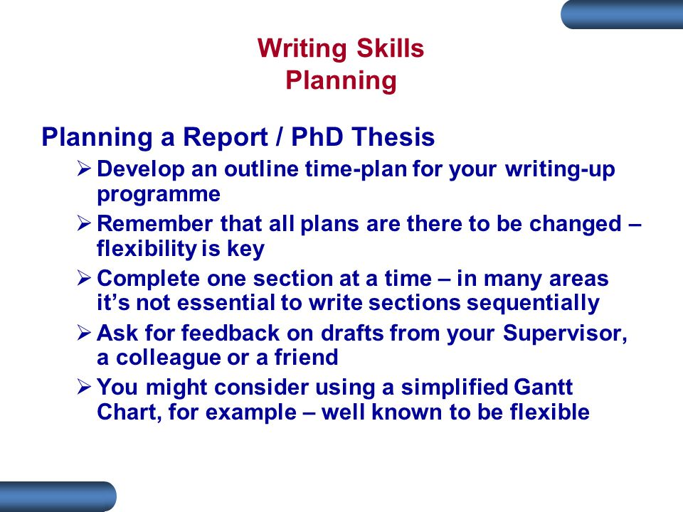 Phd thesis writing up
