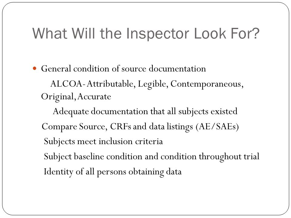 What Will the Inspector Look For.