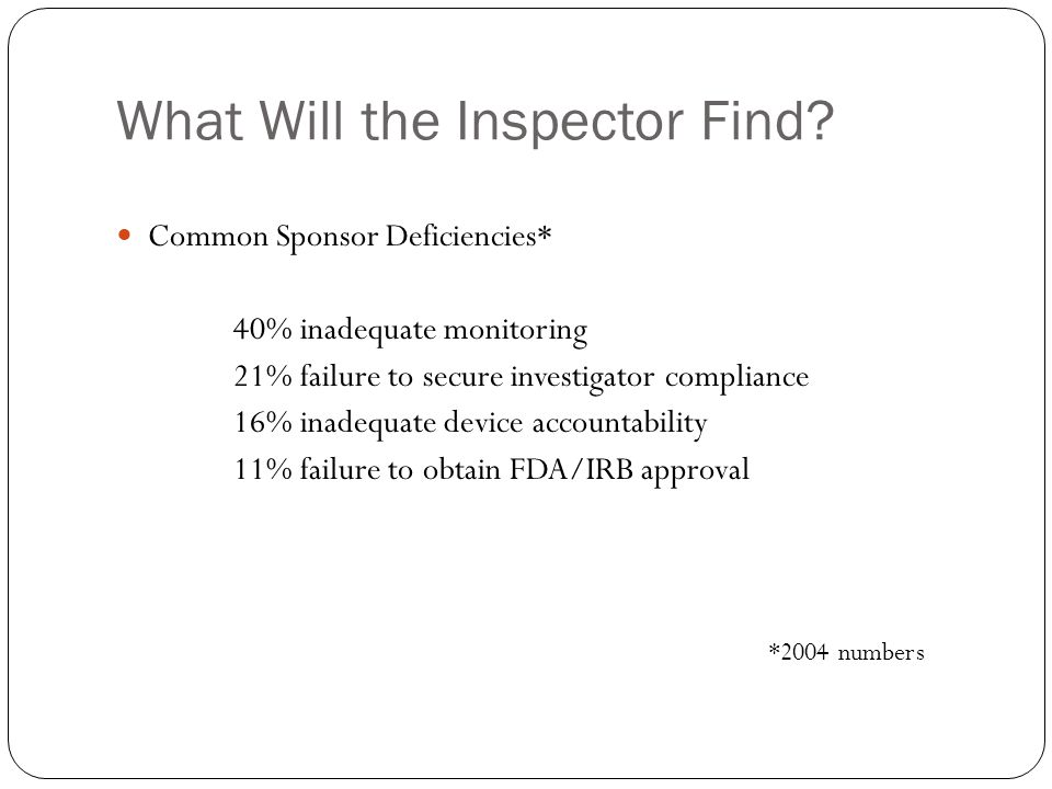 What Will the Inspector Find? Common Sponsor Deficiencies* 40% inadequate monitoring 21% failure to secure investigator compliance 16% inadequate devi