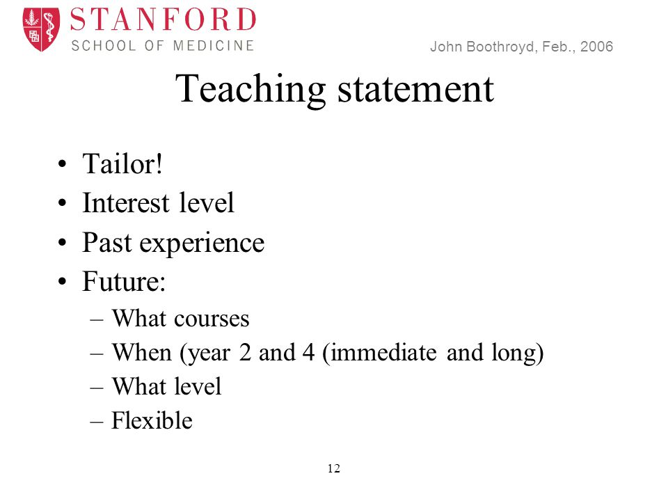 John Boothroyd, Feb., 2006 12 Teaching statement Tailor.