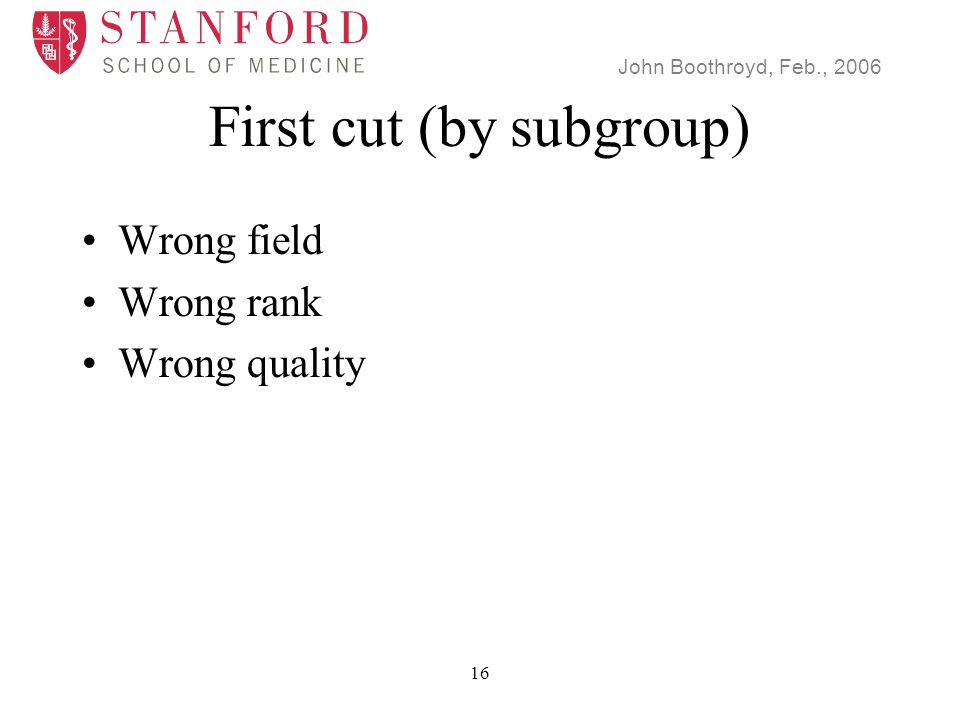 John Boothroyd, Feb., 2006 16 First cut (by subgroup) Wrong field Wrong rank Wrong quality