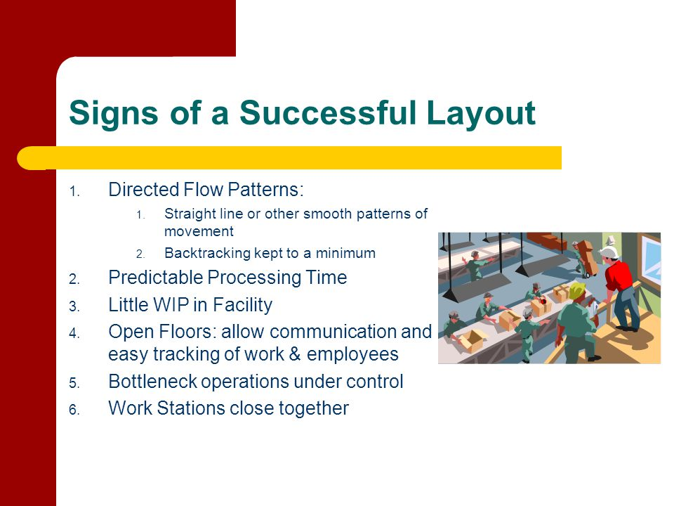 Signs of a Successful Layout 1. Directed Flow Patterns: 1. Straight line or other smooth patterns of movement 2. Backtracking kept to a minimum 2. Pre