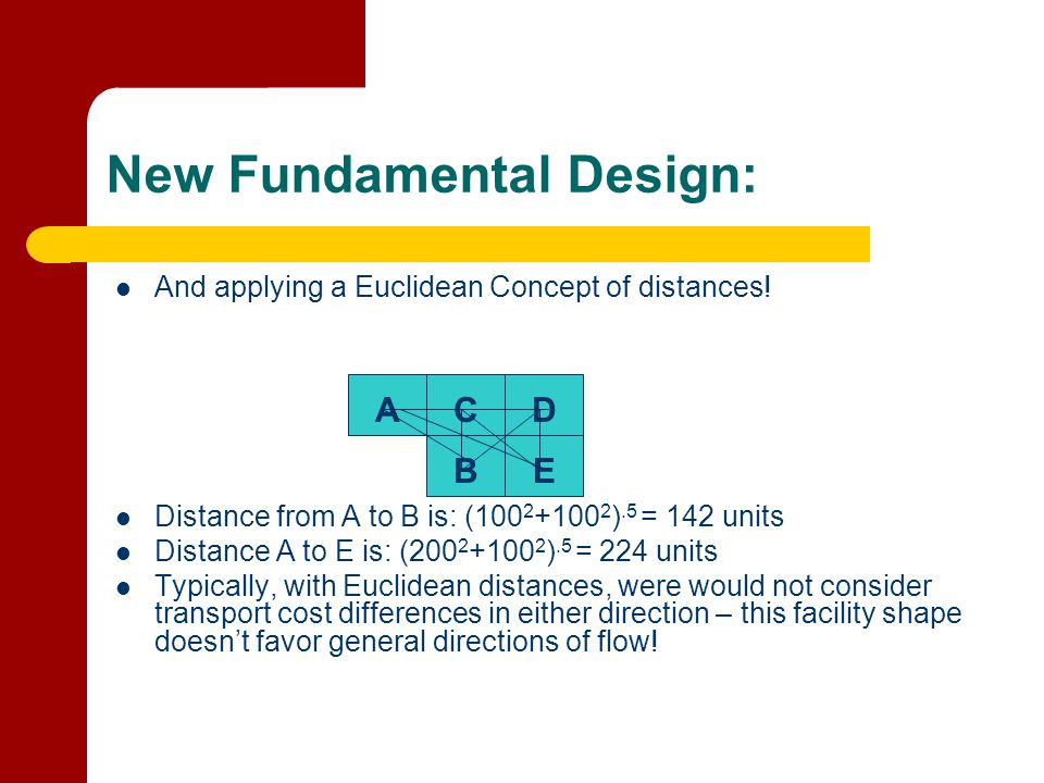 New Fundamental Design: And applying a Euclidean Concept of distances! Distance from A to B is: (100 2 +100 2 ).5 = 142 units Distance A to E is: (200