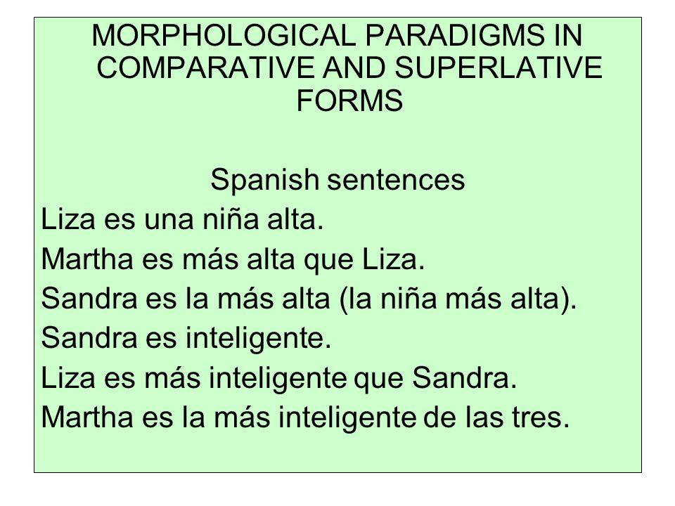 MORPHOLOGICAL PARADIGMS IN COMPARATIVE AND SUPERLATIVE FORMS Spanish sentences Liza es una niña alta.