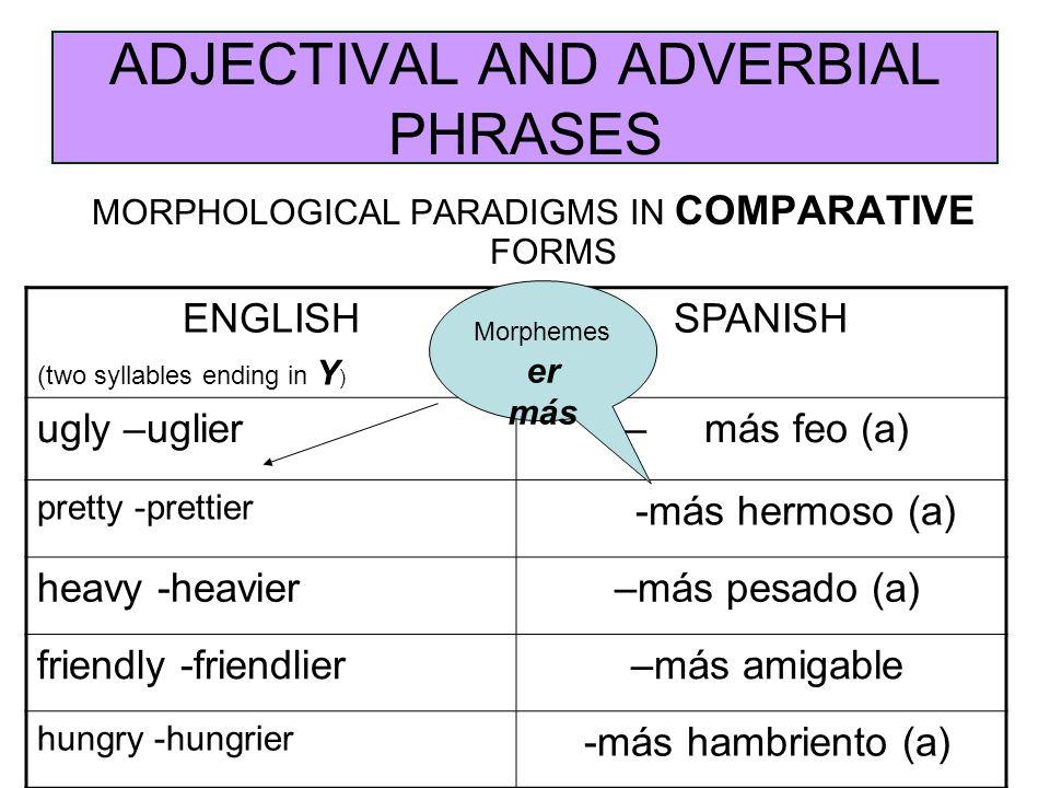 ADJECTIVAL AND ADVERBIAL PHRASES MORPHOLOGICAL PARADIGMS IN COMPARATIVE FORMS ENGLISH (two syllables ending in Y ) SPANISH ugly –uglier – más feo (a) pretty -prettier -más hermoso (a) heavy -heavier –más pesado (a) friendly -friendlier –más amigable hungry -hungrier -más hambriento (a) Morphemes er más