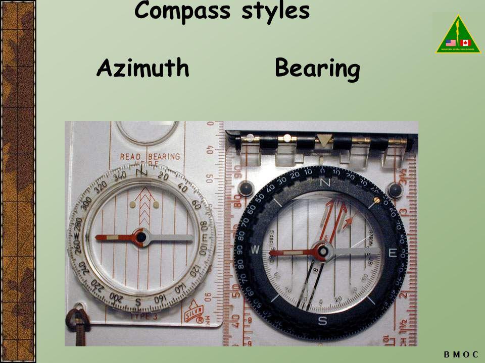 B M O C Compass styles Azimuth Bearing