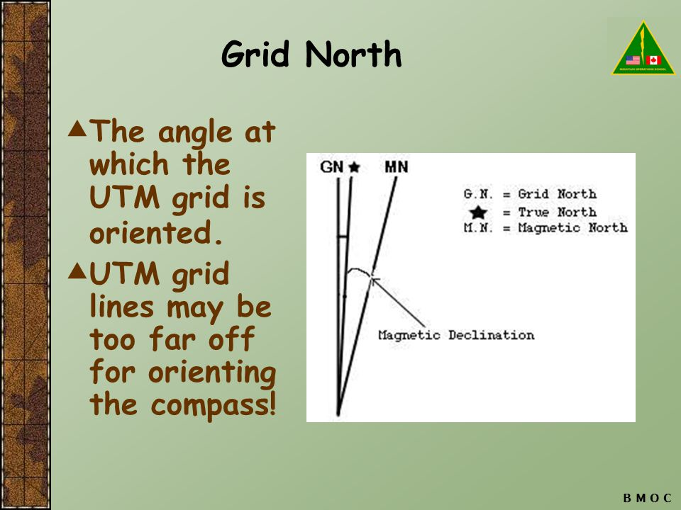 B M O C Grid North  The angle at which the UTM grid is oriented.  UTM grid lines may be too far off for orienting the compass!