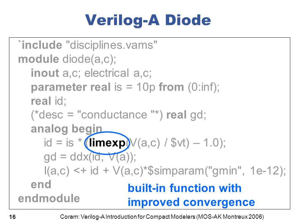 Coram: Verilog-A Introduction for Compact Modelers (MOS-AK Montreux 2006) 16 Verilog-A Diode `include