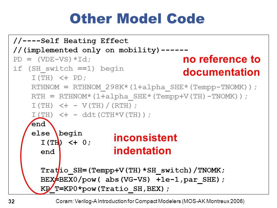 Coram: Verilog-A Introduction for Compact Modelers (MOS-AK Montreux 2006) 32 Other Model Code //----Self Heating Effect //(implemented only on mobilit