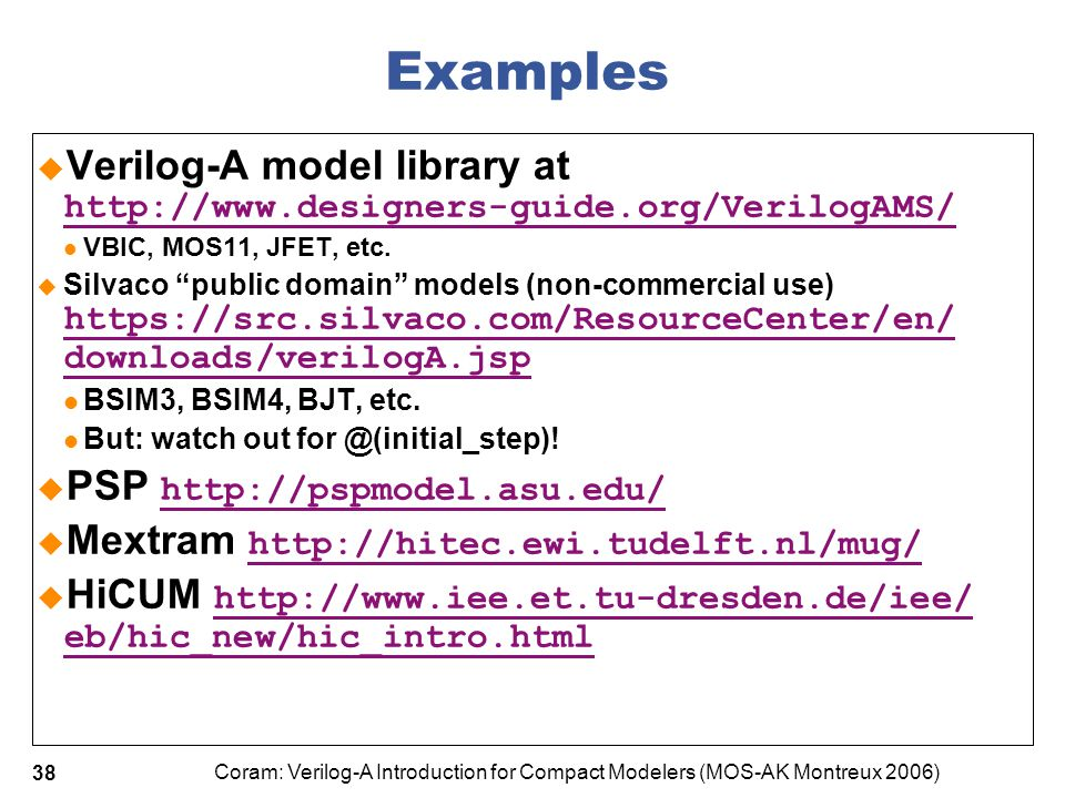 Coram: Verilog-A Introduction for Compact Modelers (MOS-AK Montreux 2006) 38 Examples  Verilog-A model library at http://www.designers-guide.org/Veri