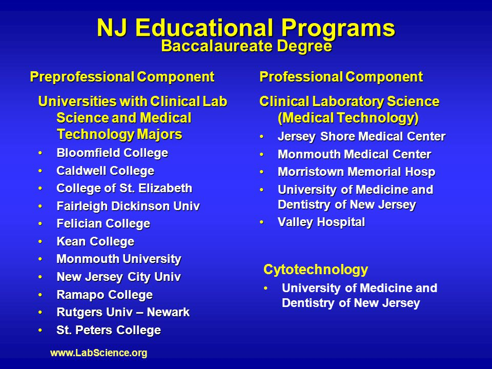www.LabScience.org NJ Educational Programs Clinical Laboratory Science (Medical Technology) Jersey Shore Medical CenterJersey Shore Medical Center Monmouth Medical CenterMonmouth Medical Center Morristown Memorial HospMorristown Memorial Hosp University of Medicine and Dentistry of New JerseyUniversity of Medicine and Dentistry of New Jersey Valley HospitalValley Hospital Universities with Clinical Lab Science and Medical Technology Majors Bloomfield CollegeBloomfield College Caldwell CollegeCaldwell College College of St.
