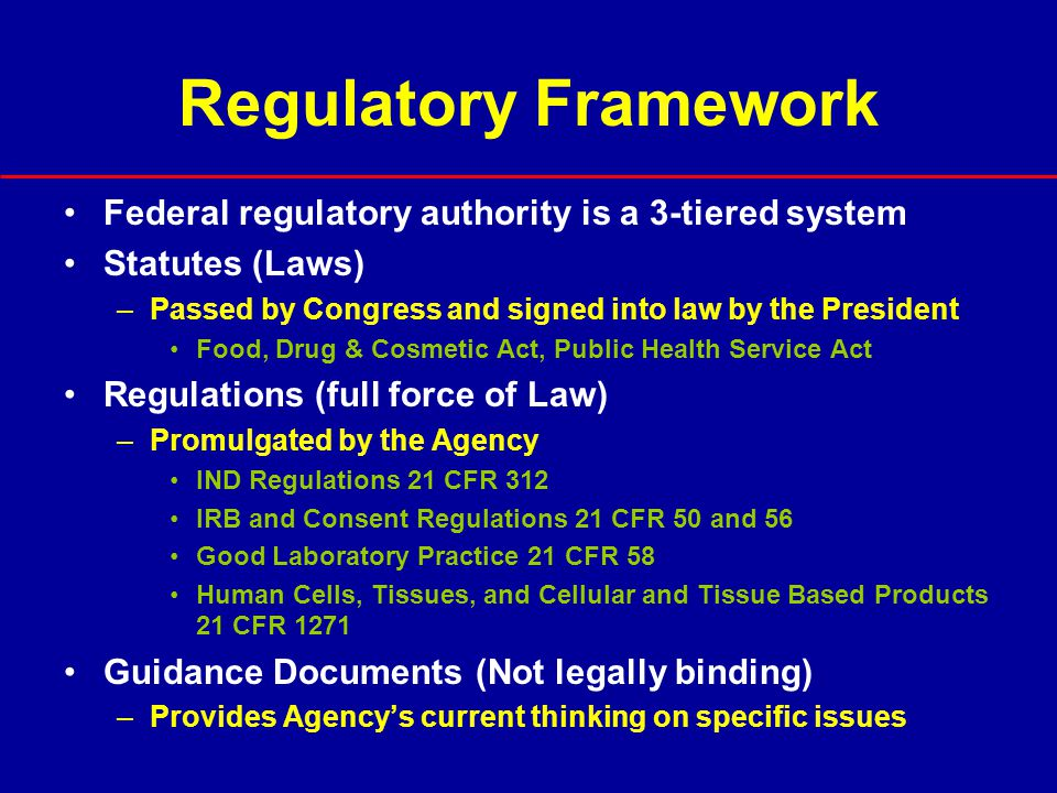 FDA Regulation of Clinical Research FDA regulates clinical research in the US that involves drugs, biological products, and medical devices regardless of funding source Clinical investigations with an unapproved drug must be conducted under an IND