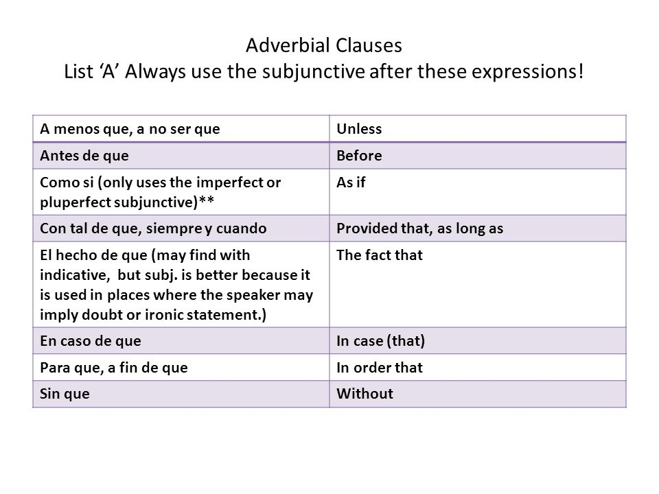 Adverbial Clauses List 'A' Always use the subjunctive after these expressions! A menos que, a no ser queUnless Antes de queBefore Como si (only uses t