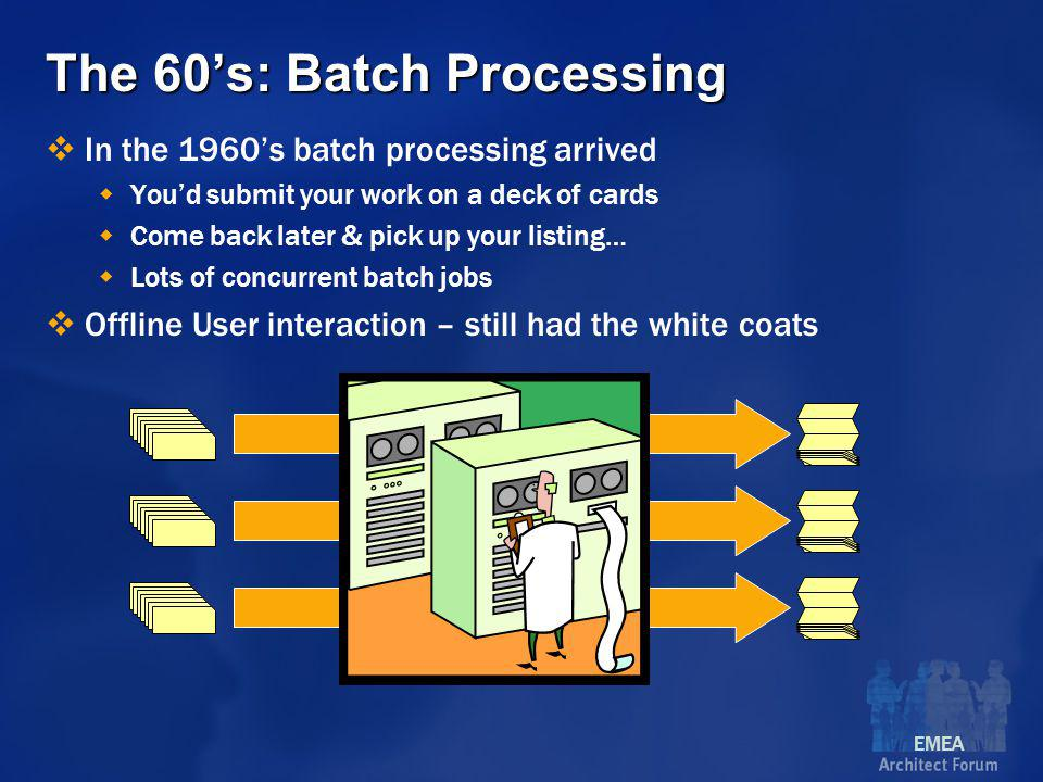 EMEA The 60's: Batch Processing  In the 1960's batch processing arrived  You'd submit your work on a deck of cards  Come back later & pick up your listing…  Lots of concurrent batch jobs  Offline User interaction – still had the white coats