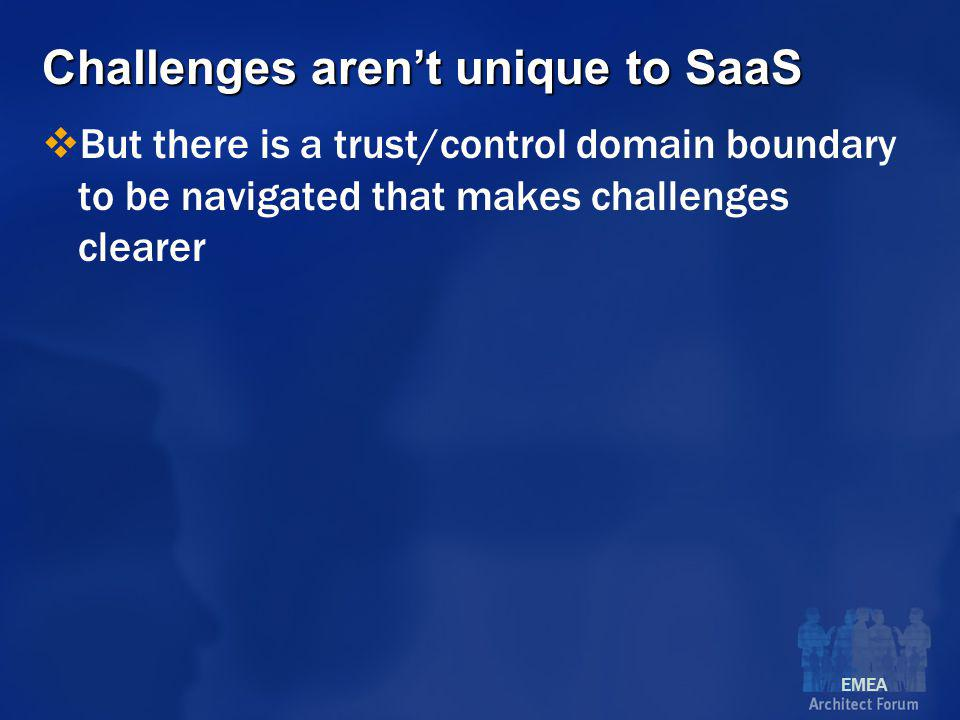 EMEA Challenges aren't unique to SaaS  But there is a trust/control domain boundary to be navigated that makes challenges clearer