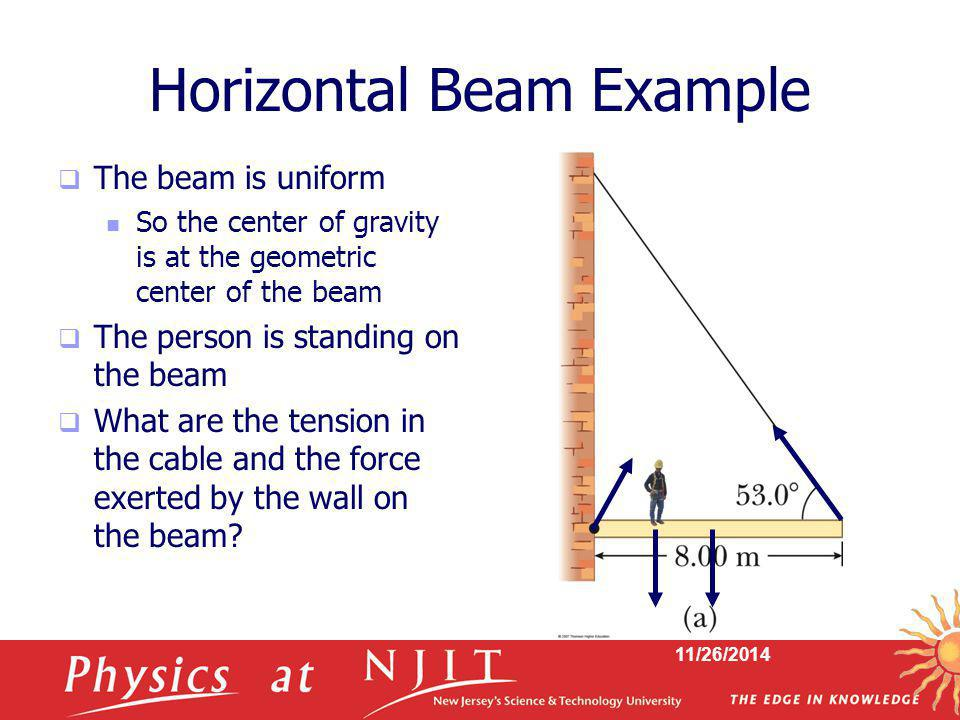 11/26/2014 Horizontal Beam Example  The beam is uniform So the center of gravity is at the geometric center of the beam  The person is standing on t