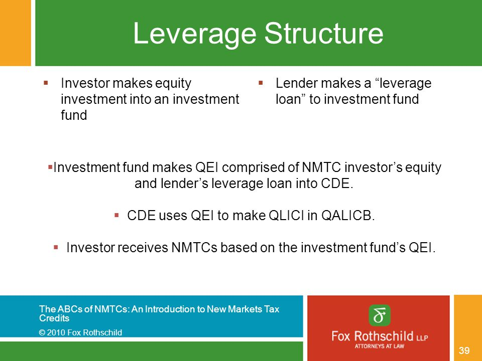 The ABCs of NMTCs: An Introduction to New Markets Tax Credits © 2010 Fox Rothschild 39 Leverage Structure  Investor makes equity investment into an investment fund  Lender makes a leverage loan to investment fund  Investment fund makes QEI comprised of NMTC investor's equity and lender's leverage loan into CDE.