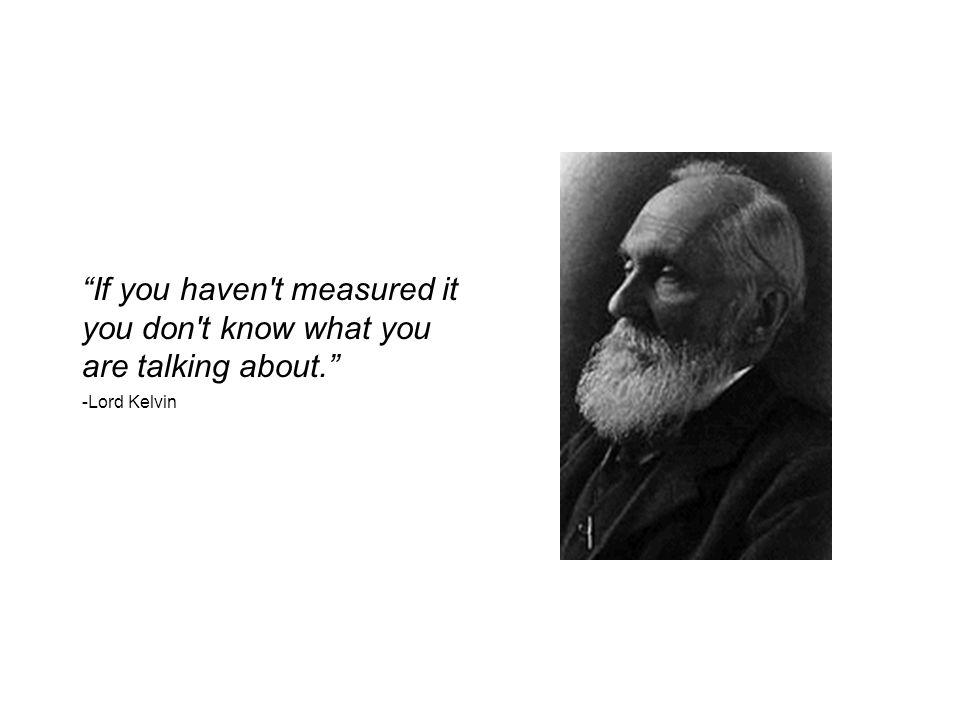 If you haven t measured it you don t know what you are talking about. -Lord Kelvin