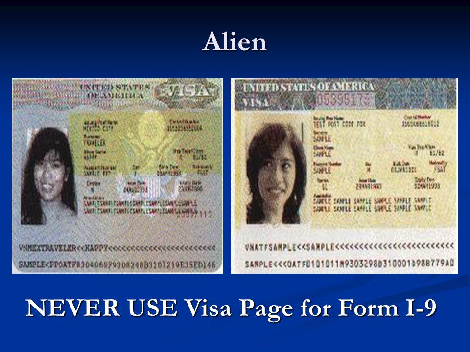 Alien NEVER USE Visa Page for Form I-9
