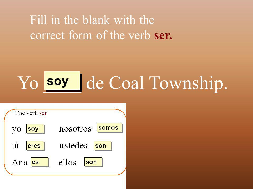 Yo ____ de Coal Township. Fill in the blank with the correct form of the verb ser. soy