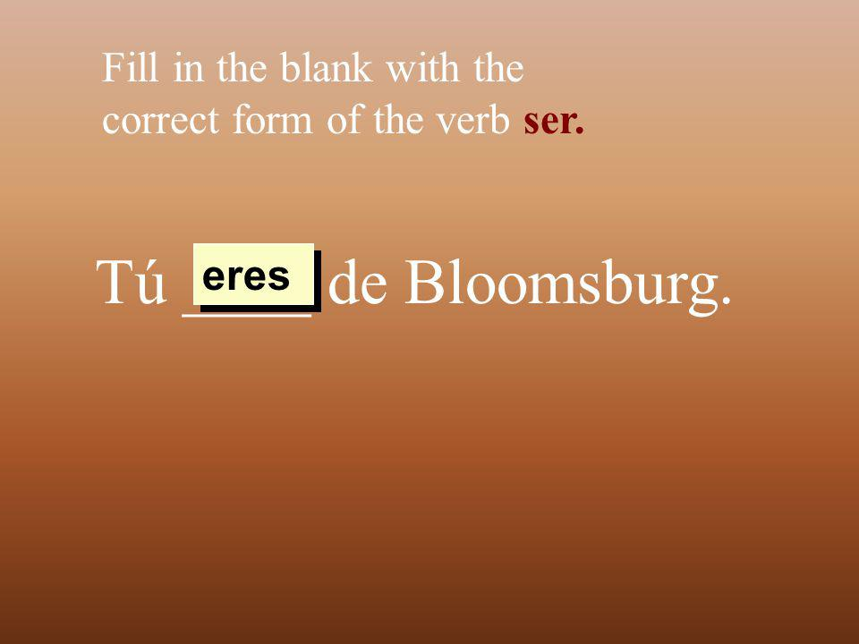 Tú ____ de Bloomsburg. Fill in the blank with the correct form of the verb ser. eres