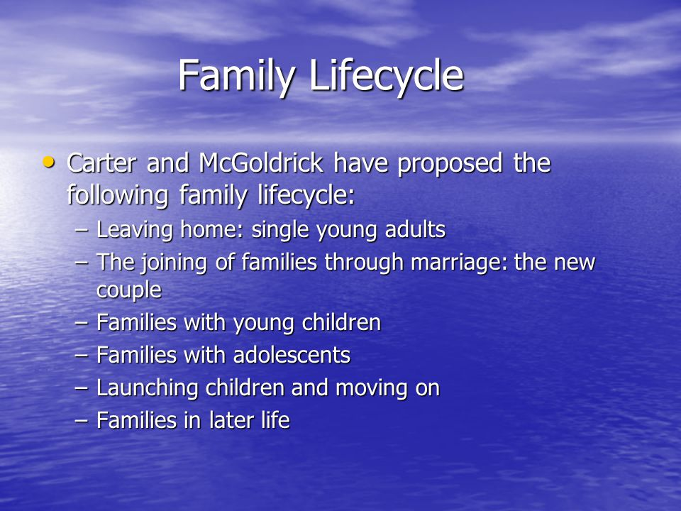 Family Lifecycle Carter and McGoldrick have proposed the following family lifecycle: Carter and McGoldrick have proposed the following family lifecycle: –Leaving home: single young adults –The joining of families through marriage: the new couple –Families with young children –Families with adolescents –Launching children and moving on –Families in later life